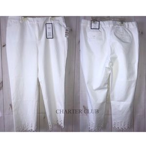 Macy's Chapter Club Womens White Trim Capri Pants